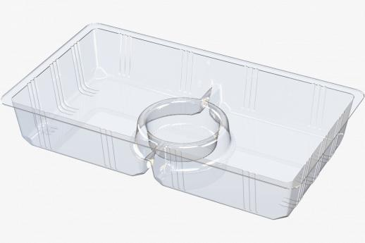 2 cavity tray with dip pot cavity