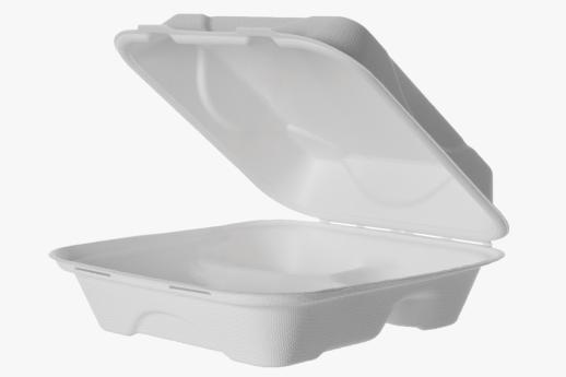Sugarcane Clamshell 3-Compartment 200x200x76mm