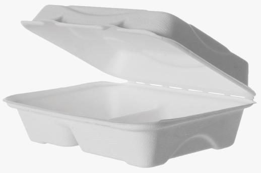 Sugarcane Clamshell 2-Compartment 230x150x75mm