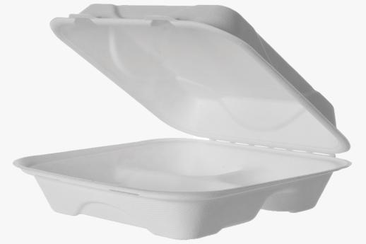 Sugarcane Clamshell 3-Compartment 230x230x75mm