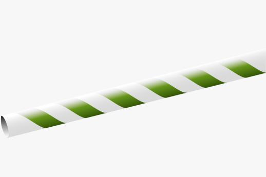 Paper Straw 195x6mm White/green striped