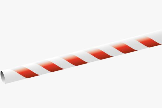 Paper Straw 195x6mm White/red striped