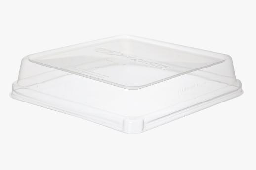 PLA Lid, fits 200mm Sugarcane Square TakeOut Container.